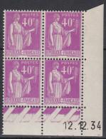 FRANCE  Coin Daté Neuf Sans Charnière Paix 40c  Violet  12.12.34 - Angoli Datati