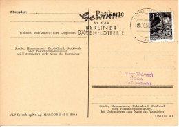 RDA. Carte Avec Oblitération De 1958. Loterie. - Giochi