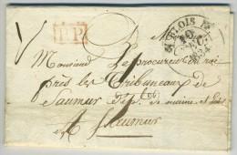 LàC 1834 Type 12 Blois Port Payé PP Rouge Pour Saumur. Ligneau Fabricant De Peignes. - Marcophilie (Lettres)