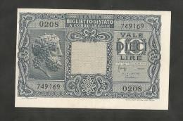 ITALIA - 10 LIRE GIOVE (Decr. 23/11/1944 - Firme: Bolaffi / Cavallaro / Giovinco) - LUOGOTENENZA - [ 1] …-1946 : Kingdom