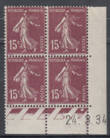 FRANCE  Coin Daté Neuf Sans Charnière  Semeuse  15c Brun  N° Yvert 189   24.3.34 - Angoli Datati