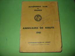 Annuaire de route 1961  Automobile club de France