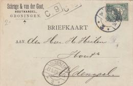 Briefkaart 26 Mei 1909 Groningen *3* (typerader Langebalk) Naar Oldenzaal *2* (typerader Langebalk) - Poststempels/ Marcofilie