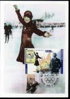 Republic De Guinee Olympics Figur Skating Sonja Henie On Kind Of Maximcard Or Memorycard 2001 - Winter 1932: Lake Placid