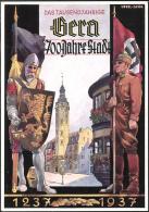 """Farbige Propagandakarte """"Gera, 700 Jahr-Feier 1237-1937"""" Von Deutsches Reich, Gelaufen - Allemagne"""