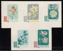 POLAND 1957 ENDANGERED FLOWERS COLOUR PROOFS BLOCK OF 5 NHM Flowers Lily Edelweiss Sea Holly Carlina Acaulis Cypripedium - 1944-.... République
