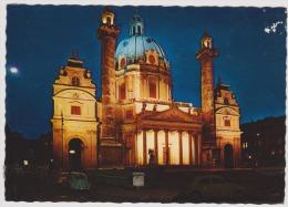 Wien-Vienna-st.charles Church At Night-unused,perfect Shape - Wien