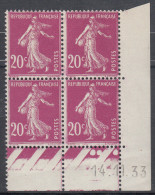 FRANCE  Coin Daté Neuf Sans Charnière  Semeuse  20c Lilas  N° Yvert 190   14.11.33 - Angoli Datati