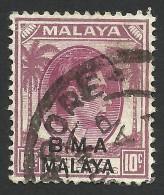 Malaya, BMA, Straits Settlements 10 C. 1945, Sc # 262, Used. - Malaya (British Military Administration)