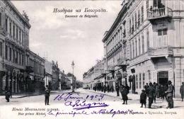 BELGRAD 1904 - Rue Prince Michel, Strassenansicht, Karte Gel.1904 Nach Brüssel - Jugoslawien