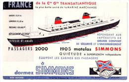 Buvard Matelas Simmons, Bâteau Le France De La Cie Gle Transatlantique - Automobile