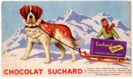 Buvard Chocolat Suchard, Chien Saint-Bernard & Traineau - Chocolat
