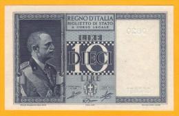 MAGNIFICO 10 LIRE, BIGLIETTO DI STATO - 1944 FDS - [ 1] …-1946 : Regno