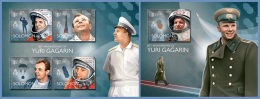 slm14507ab Solomon Is. 2014 Space Yuri Gagarin 2 s/s