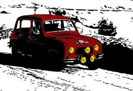 RENAULT 4 � Monte-Carlo Rallye 1963 . Carte Postale 10x15 cm.