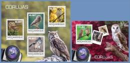 m14414ab Mozambique 2014 Birds Owls 2 s/s
