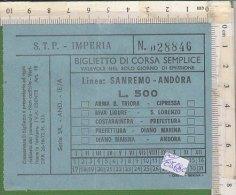PO8568C# BIGLIETTO CORSA SEMPLICE LINEE AUTOBUS S.T.P. IMPERIA - SANREMO-ANDORA