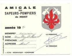 02  MONT    D  ORIGNY   CARTE  DE  MEMBRE  DE    L     AMICALE   DES  SAPEURS  POMPIERS - Cartes