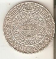 MONEDA DE PLATA DE MARRUECOS DE 20 FRANCS DEL AÑO 1347 (COIN) SILVER,ARGENT. - Maroc