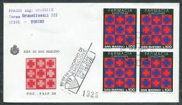 1975 SAN MARINO FDC FAIP FARMACIA QUARTINA TIMBRO ARRIVO - RD10-2 - FDC