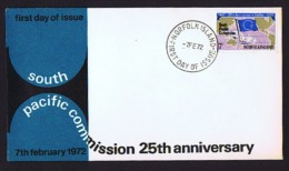 NORFOLK  1972  Pacific Commission 25th Ann Unaddressed FDC - Norfolk Island