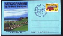 NORFOLK   36c Aerogramme  - Prison Kingston -  FDC - Norfolk Island