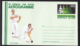 NORFOLK   50c Aerogramme  - Norfolk Island Bowling Club - Unused - Norfolk Island