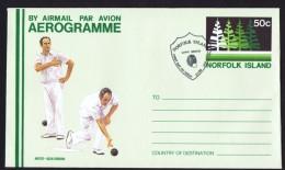 NORFOLK   50c Aerogramme  - Norfolk Island Bowling Club - FDC - Norfolk Island