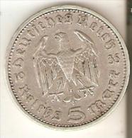 MONEDA DE PLATA DE ALEMANIA DE 5 REICHSMARK DEL AÑO 1935 LETRA A (COIN) SILVER,ARGENT. - [ 4] 1933-1945 : Tercer Reich