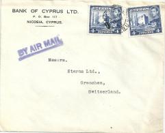 "Airmail Brief  ""Bank Of Cyprus Ltd, Nicosia"" - Grenchen             1952 - Cyprus (...-1960)"