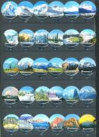 1402 A - Mountains (Montagnes) - Serie complete de 30 opercules Suisse Emmi