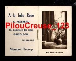 """94 Val De Marne - CHOISY Le ROI - """" Calendrier 1951 - Publicité A. MOLVEAU Fleuriste Membre Fleurop """" - Calendriers"""