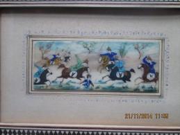 MINIATURE SUR IVOIRE Rehaussée D´or Dans Cadre Incrusté De Bois, Ivoire Et Os, Provenance Iran - Arte Orientale