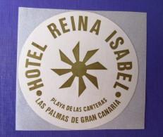 HOTEL PENSION HOSTAL REINA ISABEL LAS PALMAS CANARIA SPAIN MINI LUGGAGE LABEL ETIQUETTE AUFKLEBER DECAL STICKER MADRID - Hotel Labels