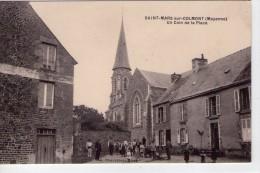 Saint-Mars-sur-Colmont.. Très Animée.. Belle Vue De La Place.. L´Eglise.. Carte RARE - France