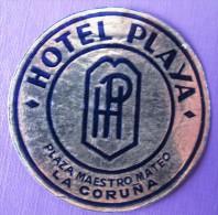 HOTEL RESIDENCIA MESON HOSTAL PLAYA GALICIA LA CORUNA SPAIN MINI LUGGAGE LABEL ETIQUETTE AUFKLEBER DECAL STICKER MADRID - Hotel Labels
