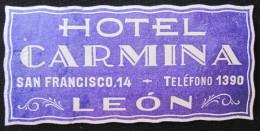 HOTEL RESIDENCIA HOSTAL CARMINA LEON SPAIN MINI LUGGAGE LABEL ETIQUETTE AUFKLEBER DECAL STICKER MADRID - Hotel Labels