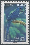 France, UNESCO, Bird, Hyacinth Macaw, Brazil, 2014, MNH VF - Mint/Hinged