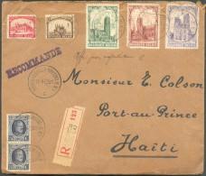 N°204(2)-267/271 Obl. Sc BRUXELLES (Q.-L.) S/L. Recommandée Du 21-1-1929 Vers Port-au-Prince (HAÏTI), Via New-York. Qqs - Sin Clasificación