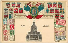 Paris  -ref-B193  - Carte Gaufree Avec Medaillon En Relief Drapeaux R F - Blasons - Billets - Timbres - Carte Bon Etat - - Timbres (représentations)