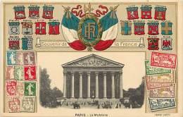 Paris  -ref-B192  - Carte Gaufree Avec Medaillon En Relief Drapeaux R F - Blasons - Billets - Timbres - Carte Bon Etat - - Timbres (représentations)