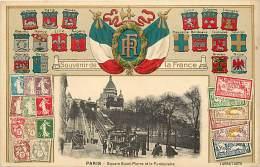 Paris  -ref-B191  - Carte Gaufree Avec Medaillon En Relief Drapeaux R F - Blasons - Billets - Timbres - Carte Bon Etat - - Timbres (représentations)