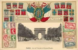Paris  -ref-B190  - Carte Gaufree Avec Medaillon En Relief Drapeaux R F - Blasons - Billets - Timbres - Carte Bon Etat - - Timbres (représentations)
