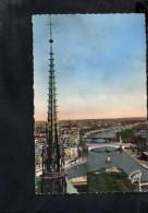 F2654 Paris Et Ses Merveilles - La Fleche De Notre Dame Et Panorama De La Seine En Amont - Old Small Card 1952 - Notre Dame De Paris