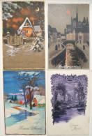 Lot 4x Chromo LITHO Illustrateur ART NOUVEAU VILLAGE MAISON FENETRE LUMIERE LUNE LUMINEUSE - Fantaisies