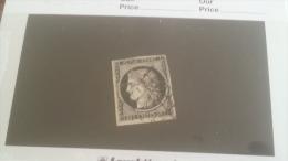 LOT 233046 TIMBRE DE FRANCE OBLITERE N�3 VALEUR 60 EUROS