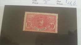LOT 233058 TIMBRE DE COLONIE COTE IVOIRE NEUF* N�25 VALEUR 11,6 EUROS