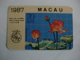 CTT Macau Nelumbo Nucifera Gaertn Pocket Calendar 1987