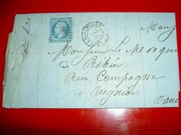 Lettre De Lyon à Marseille 1866 Timbrées Empire Franc 20 Centimes Napoléon III /Marquis De Ribiers  Avignon / Vin - 1862 Napoléon III