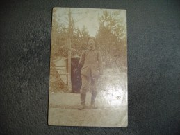 Cpa Guerre 1914 1915 Photo Militaire Devant Un Abris.Soldier ,war - Guerre 1914-18